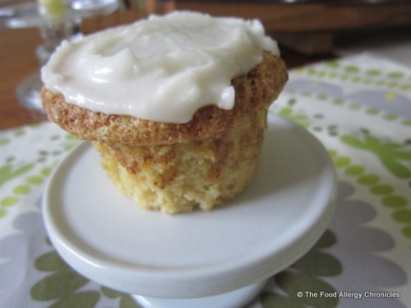 Dairy, Egg, Soy and Peanut/Tree Nut Free Brown Sugar Cinnamon Muffin/Cupcake topped with Dairy Free Vanillla Icing