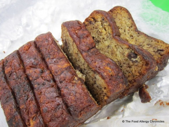 Sliced Dairy, Egg, Soy and Peanut/Tree Nut Free Banana Chocolate Chunk Loaf for our picnic at Stratford
