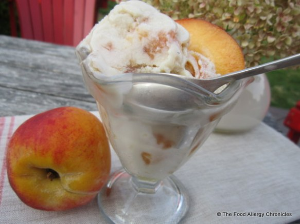 A dish of Dairy, Egg and Peanut/Tree Nut Free Caramelized Peach Ice Cream