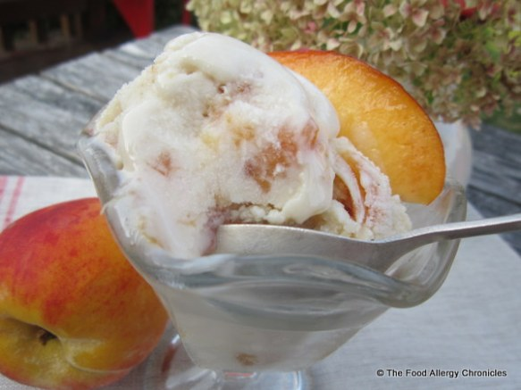 Enjoying a bowl of Dairy, Egg and Peanut/Tree Nut Free Caramelized Peach Ice Cream